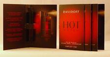 Davidoff HOT WATER for Him EDT Spray Samples .04 oz 1.2ml LOT of 4 FRESH!