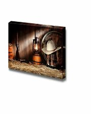 Canvas- West Rodeo Cowboy Gear with White Straw Hat Atop Leather Boots - 24x36