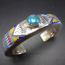 Vintage DAVID FREELAND Sterling Silver & Multi Stone Micro Inlay Cuff BRACELET