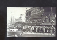 REAL PHOTO CHICAGO CUBS BASEBALL STADIUM WRIGLEY FIELD OLD CARS POSTCARD COPY