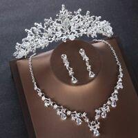 Crystal Leaf Heart Bridal Wedding Jewelry Set Baroque Tiaras Necklace Earring