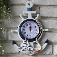 Anchor Clock Beach Sea Theme Nautical Ship Wheel Steering Wall Decoration NEW