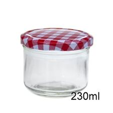 New 230ml Clear Glass Conserve Jar w White&Red Screw Top Preserving Jam Jar