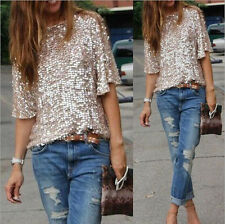 Glitter Tank New 3/4 Sleeve Coctail Sparkle Party Womens Top Sequin T-Shirt