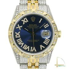 Rolex Datejust Mens Two-Tone 36mm Blue Dial Pyramid Bezel Fully Loaded Diamonds