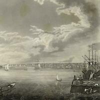 Philadelphia PA harbor ships 1844 J.B. Neagle engraved old panoramic view print