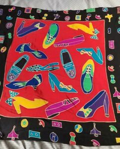 Silk Scape Silkscapes Scarf Hand Painted Shoes Footwear Bright Colors