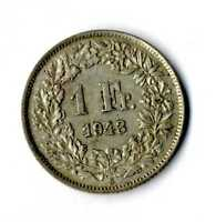 Moneda Suiza 1943 B 1 franco suizos plata .835 silver coin Helvetia