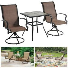 Patio Bistro Set 3 Pc Swivel Chairs Dining Table Outdoor Backyard Garden Furnitu