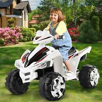 12V Kids Ride On ATV Car Quad Electric Toy 4 Wheeler With LED Headlights White