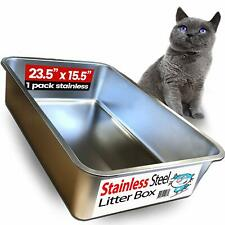 New listing Ultimate Stainless Steel Cat Xl Litter Box - Never Absorbs Odor, Stains, or Rust