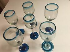 MEXICAN WINE GLASSES, SNIFTER DESIGN, MOUTH BLOWN, AQUA/BLUE - 6 TOTAL