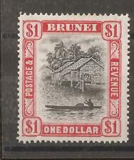 BRUNEI  1947 $1 black and scarlet  mh