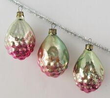 Set 3 Flower Bud Vintage Xmas Decor Christmas Russian Glass Pink Ornament Ussr