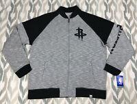 Majestic Houston Rockets NBA Mens Full Zip Track Jacket Pullover Gray Size XL