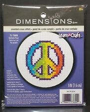 "Dimensions Learn-A-Craft ""Rainbow Peace"" Counted Cross Stitch 3"" Round 72-73600"