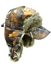 Camouflage Camo Trooper Bomber Brown RealTree Faux Visor Hat Winter Cap Hunting
