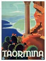 TRAVEL TAORMINA SICILY ITALY GREEK THEATRE RUIN SEA ETNA POSTERPRINT BB7648B
