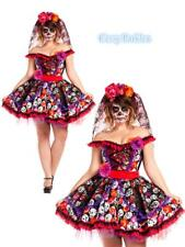 Mexican Day Of The Dead Sugar Skull Spanish Dress Up Senorita Halloween Costume