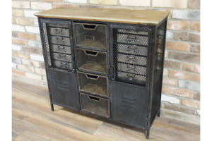 Industrial Vintage Cabinet with Drawers Retro Rustic Metal Cabinet 5130
