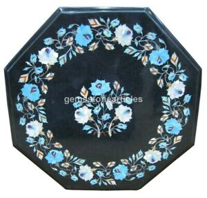 """18""""x18""""  Black Marble Octagon Inlaid Side Coffee Table Top Christmas Arts Gifts"""