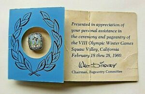 Squaw Valley 1960 -VIII Olympic Winter Games Pageantry Pin- Walt Disney Chairman