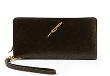 Brian Atwood Belle Black Leather Slim Continental Wallet w Wristlet Strap