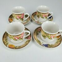 Gibson Everyday Fruit Pattern Four Coffee Cups and Four Saucers Set of Eight