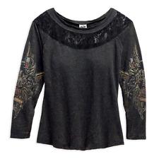Harley-Davidson LS Mesh / Lace Inset Crackle Wash Graphic Shirt Top 96292-16VW L