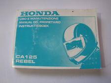 HONDA CA125 REBEL 1994 USO E MANUTENZIONE OWNER MANUAL INSTRUKTIEBOEK