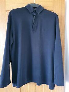 Men's Hugo Boss Long Sleeve Polo Shirt Black Size - Large Slim Fit