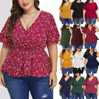 Women's Plus Size V Neck Short Sleeve Ruffle Printed Shirt Top Summer Blouse cen