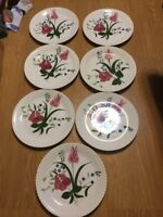 """Vintage Ucagco Heirloom China Made In USA Floral Hand Painted Print 10"""" Plate"""
