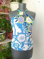 Rose & Lula Top Y2K Sleeveless Open Back Necklace Emilio Pucci Print One Size