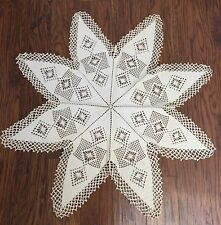 Vintage Filet Crochet Lace Tablecloth Topper Doily Snowflake 8 Point Star 36""