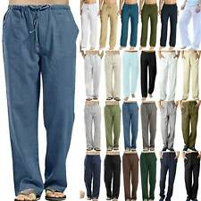 Mens Straight Wide Leg Loose Pants Drawstring Jogging Long Yoga Trousers Bottoms