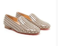 "Christian Louboutin Red Sole Leather ""Rolling Spikes"" Loafer Flats Sz 37"