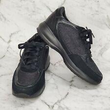 Sketchers Women Black Sneakers Shoes Silver Sparkles Lace Up Size US 6.5 UK 3.5