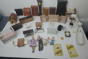 Vtg Huge Lot  Miniature Wooden & Plastic Dollhouse Furniture W/ Family Figures
