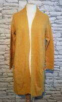 AVENUE LADIES LONGLINE CARDIGAN WITH POCKETS MUSTARD SIZE 8 uk alpaca wool blend