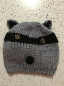 YOUNG WOMAN'S RACOON CLAIRES' CROCHETED BEANIE MSRP $30 BRAND NEW!