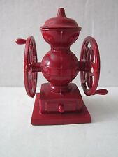 Vintage Miniature Diecast Metal Pencil Sharpener Red Coffee Mill Grinder