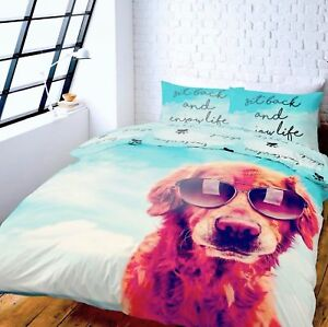 ITS A DOGS LIFE PHOTO PRINT SINGLE DOUBLE OR KING DUVET SET CATHERINE LANSFIELD