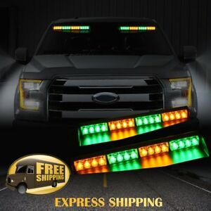 """34"""" 32 LED Car Emergency Warning Visor Split Deck Strobe Light Bar Amber Y Green"""