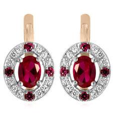 14k Two-Tone Gold .50 CT. F- VS1 Diamond 2.50 CT. Ruby, Russian Style Earrings