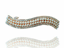 Bridal Luxury Pearls Cluster & Rhinestones Wave Hair Barrettes Accessories HA82