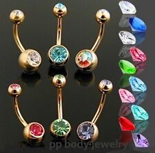 """14G~3/8""""~10mm Gold Plated 316L S. Steel w/Double Gems Navel Ring (Specify Color)"""