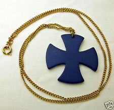 Vintage Necklace Dark Blue Painted Wood Cross Gold Tone Metal Chain