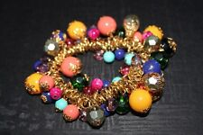 Multi Color Stone & Bead Gold Woman's Bracelet - Festive