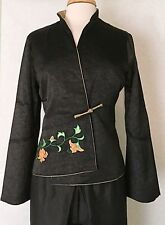 Asian Chinese Ladies Cheongsam Style Jacket Coat Black with Embroidered Peony